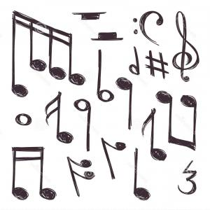 White Music Note Vector: Abstract Musical Instruments Music Accessories Note Clef Modern Vector Pack