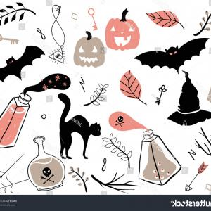 Vector Halloween Silhouettes Pumpkin With Glases: Hand Drawn Set Spooky Halloween Autumn