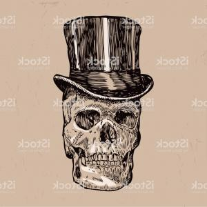 Vector Skull In Top Hat: Hand Drawn Skull With Top Hat Vector Gm