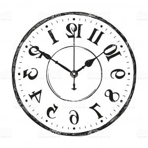 Old Floor Clock Vector: Hand Sketched Vector Watch Clock On White Background Gm