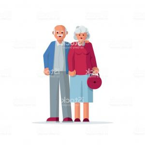 Happy Elderly Vector: Happy Elderly Couple Together Gm