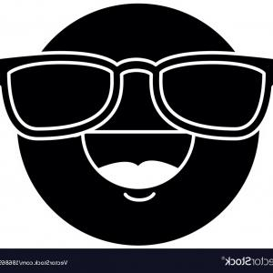 Vector Black And White Emoji W Moustache: An Sad Emoji With Beard And Mustache And A Santa Hat
