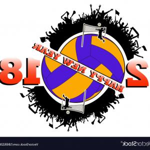 Volleyball Vector Logo: Happy New Year And Volleyball Vector