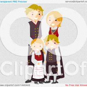 Norwegian Clipart-Vector: Happy Norwegian Family In Traditional Clothing
