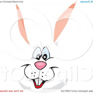 Vector Easter Rabbit Face: Happy White Easter Bunny Face
