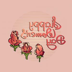 Women With Roses Vector: Happy Womens Day Handwritten Lettering With Roses Vector