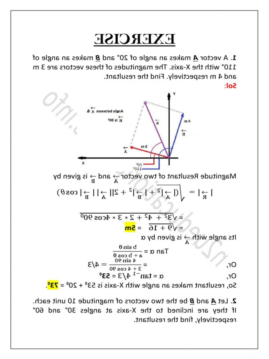Magnitude Of Vectors 2: Hc Verma Concepts Of Physics Exercise Solutions Of Chapter Nu Education Physics