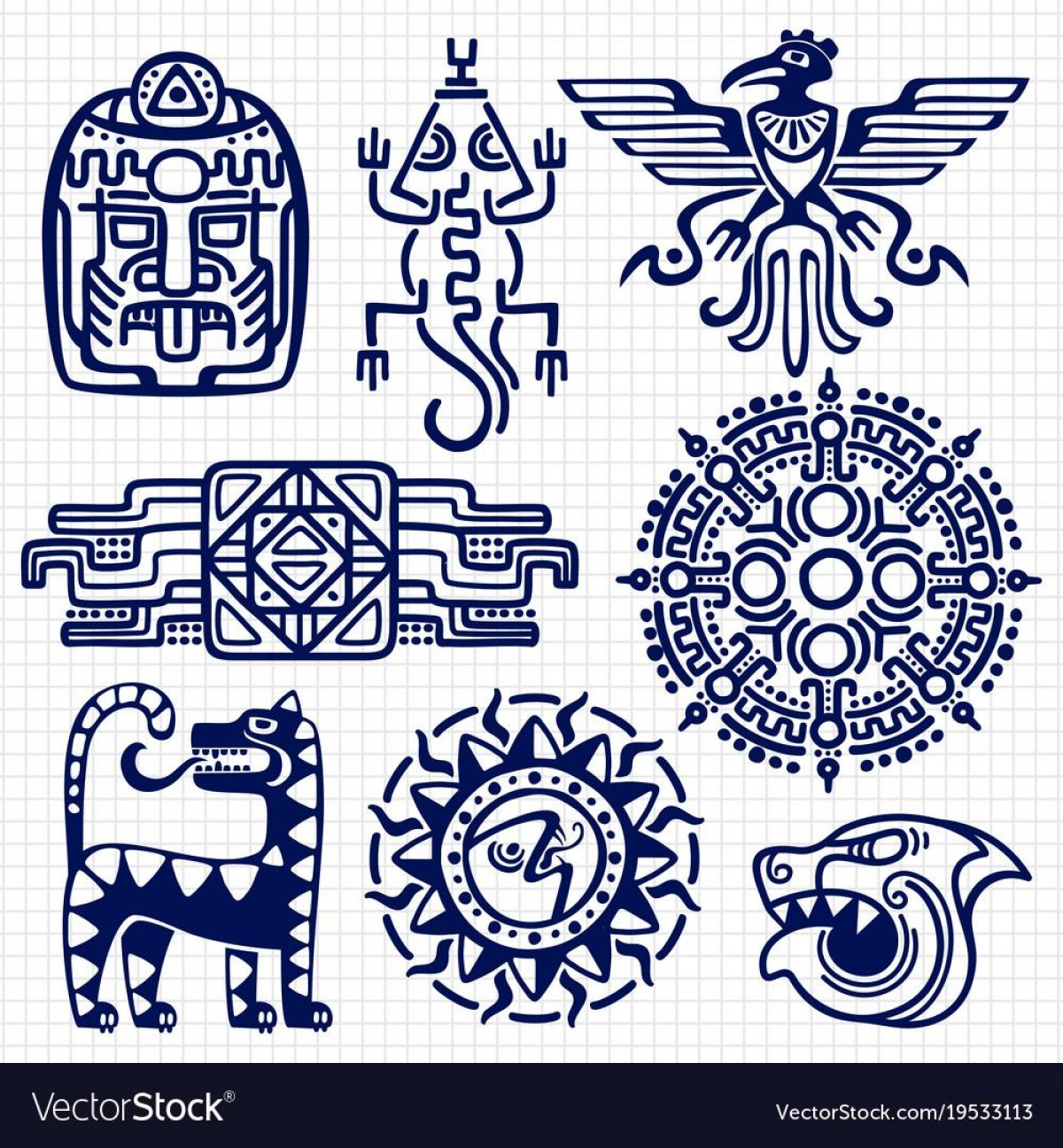 Mayan Vector: Hd Ballpoint Pen American Aztec Mayan Culture Native Vector Pictures