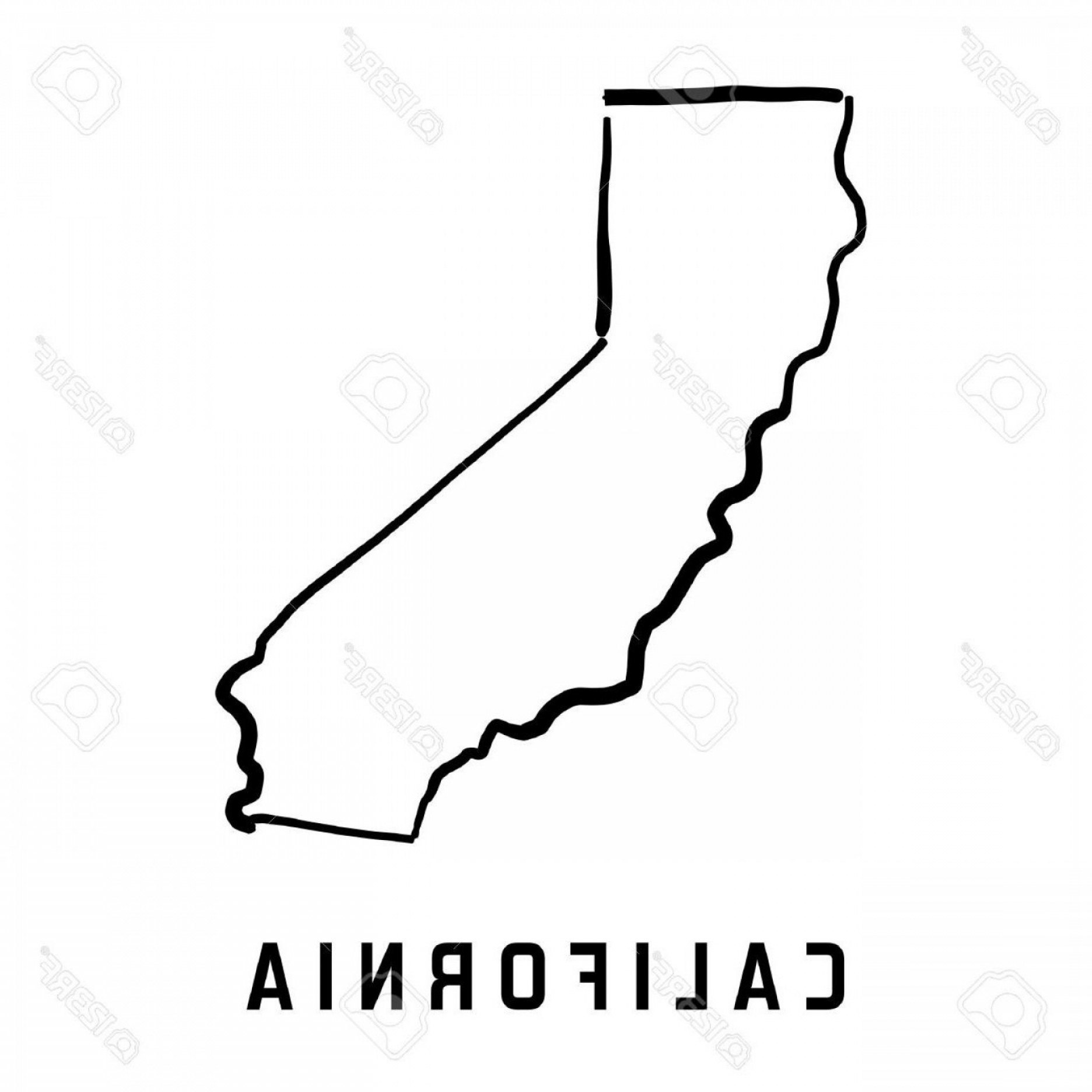 Arizona State Outline Vector: Hd California State Map Outline Smooth Simplified Us Shape Vector Image