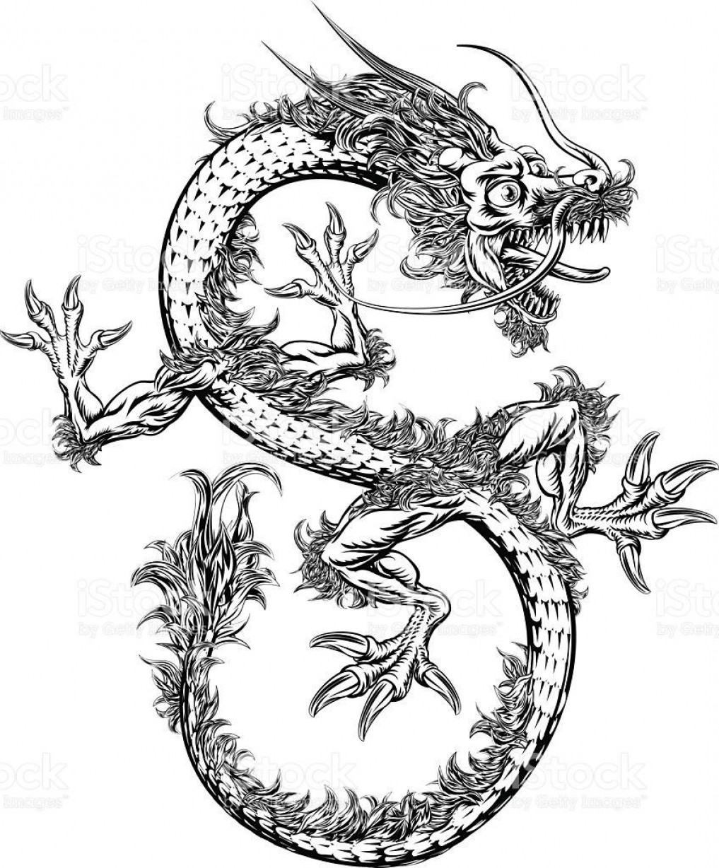 Oriental Dragon Vector: Hd Chinese Or Japanese Oriental Dragon Vector Library