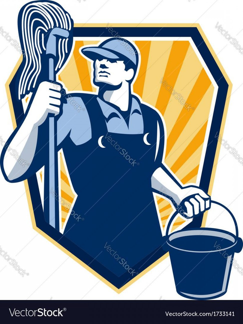 Mop And Bucket Clip Art Vector: Hd Janitor Cleaner Hold Mop Bucket Shield Retro Vector Photos