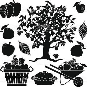 Apple Tree Vector Black: Hd Apple Tree And Apples Vector File Free
