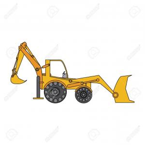 Backhoe Clip Art Vector: Hd Color Image Cartoon Industrial Machine Excavator Vector Illustration Photos