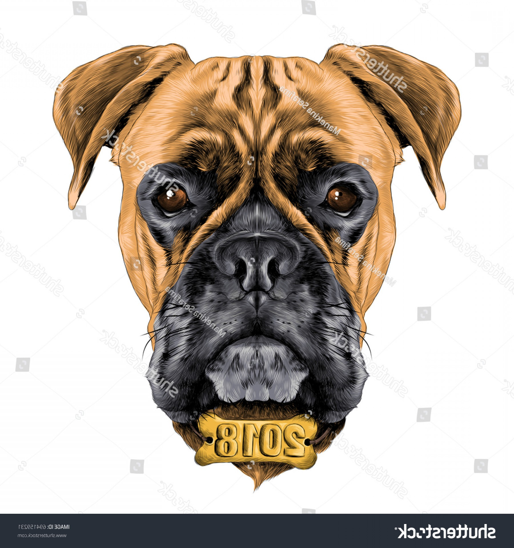 Bpxer Vector Art Happy Dog: Head Dog Breed Boxer Collar C