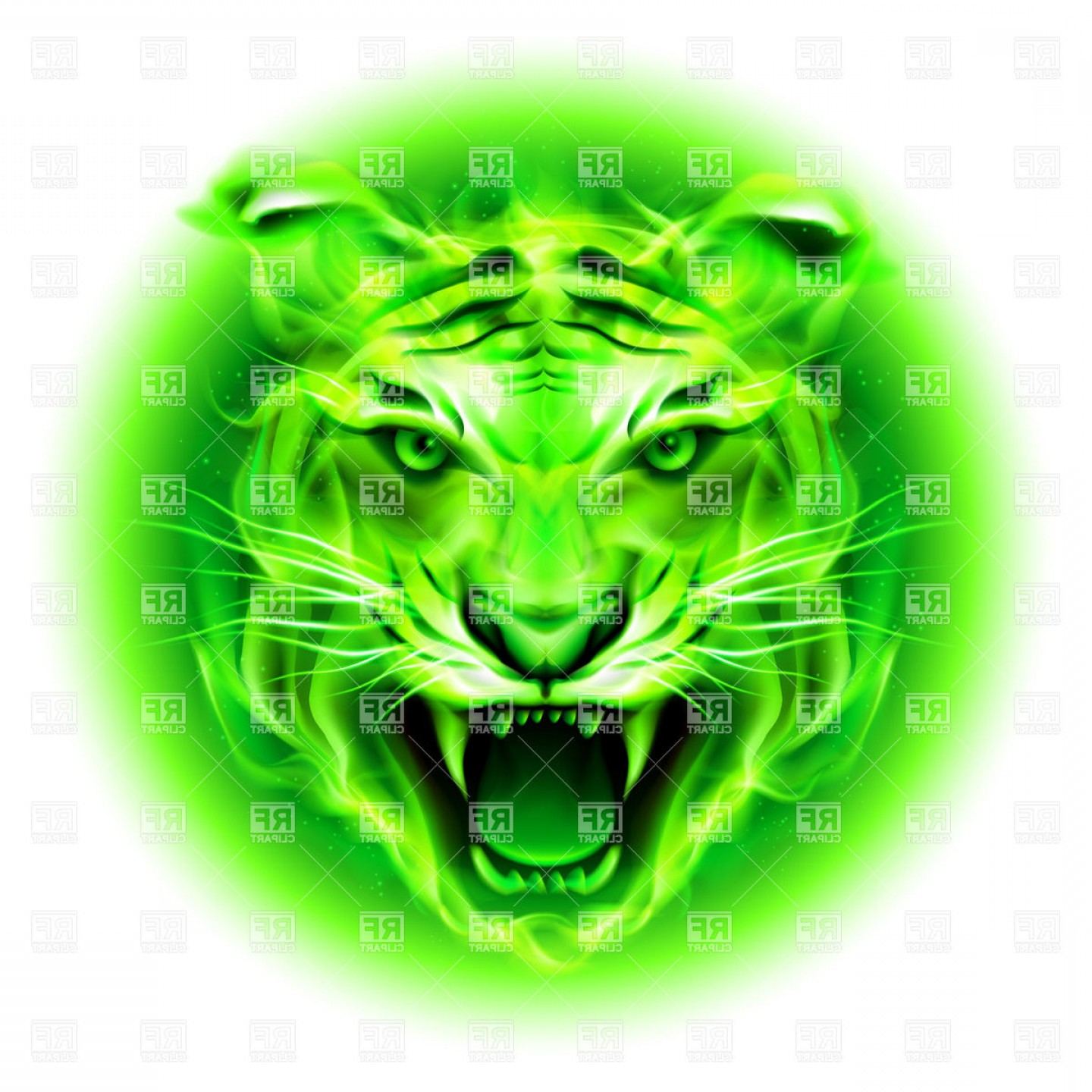 Green Tiger Vector: Head Of Agressive Green Fire Tiger Vector Clipart