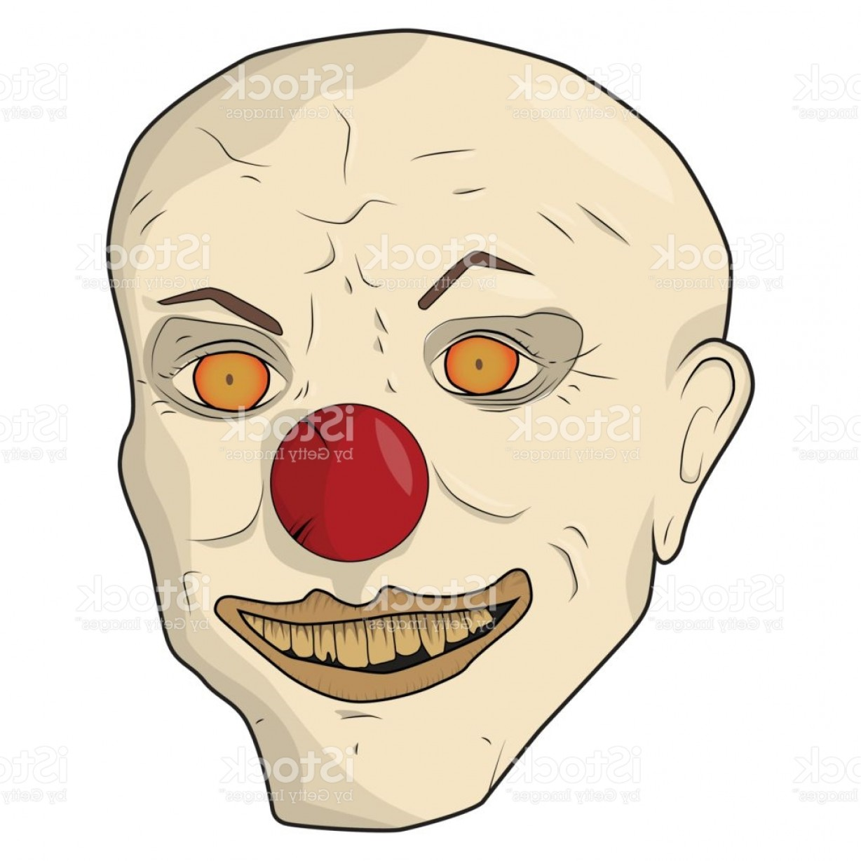 Joker Smile Vector Art: Head Scary Clown The Bald Man Smiles Yellow Teeth Gm