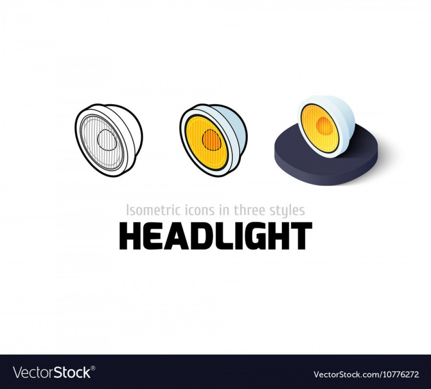 Vector Round Headlight: Headlight Icon In Different Style Vector