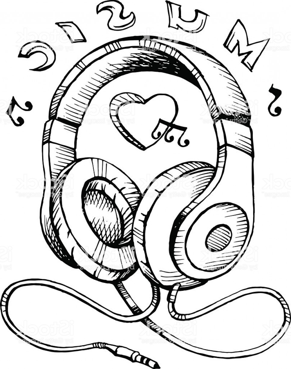 Musical Vector Artwork: Headphones Sketch Vector Illustration With Musical Notes Gm