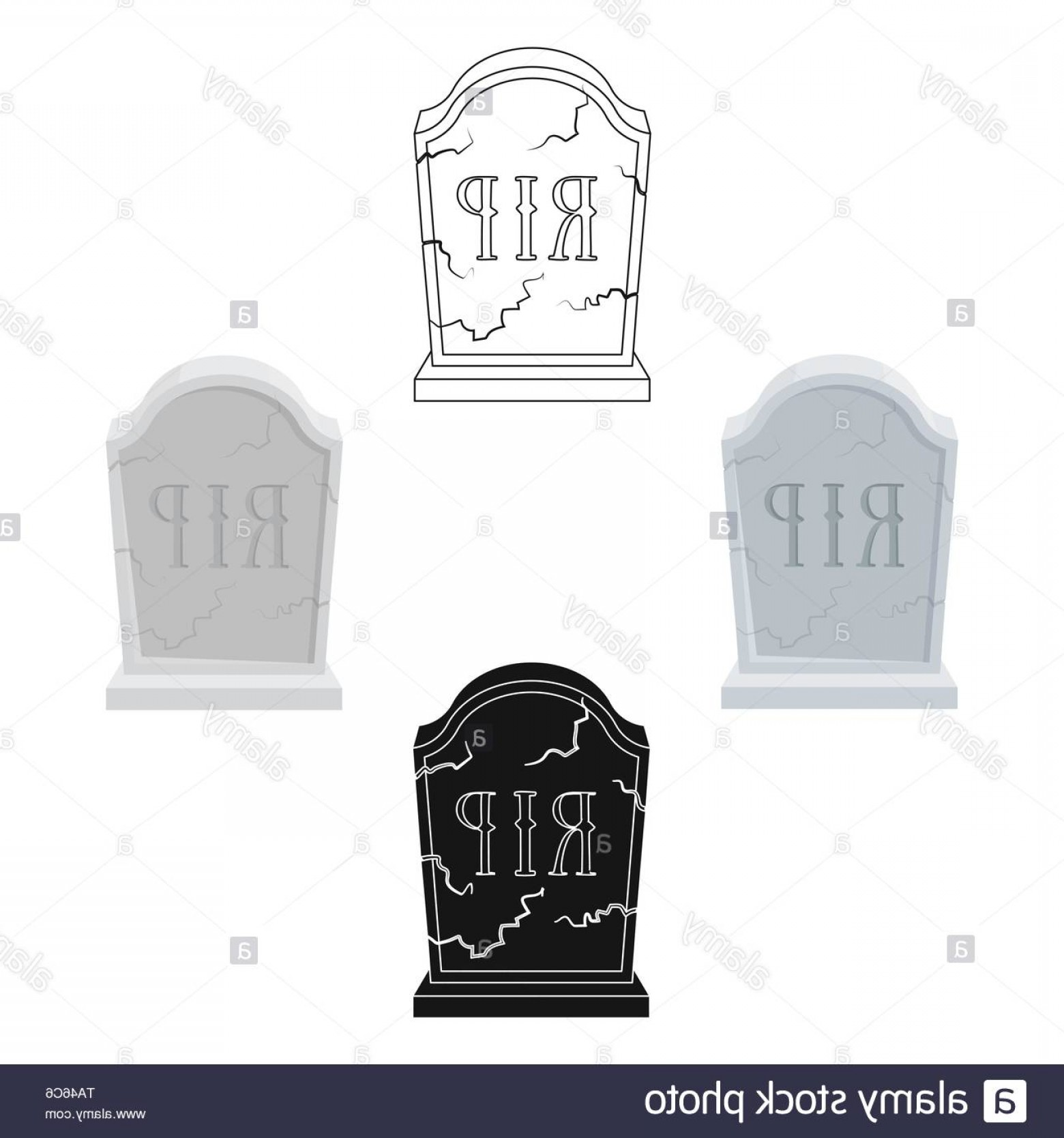 Gravestone Black And Whit Vector JPEG: Headstone Icon In Cartoonblack Design Isolated On White Background Funeral Ceremony Symbol Stock Vector Illustration Image