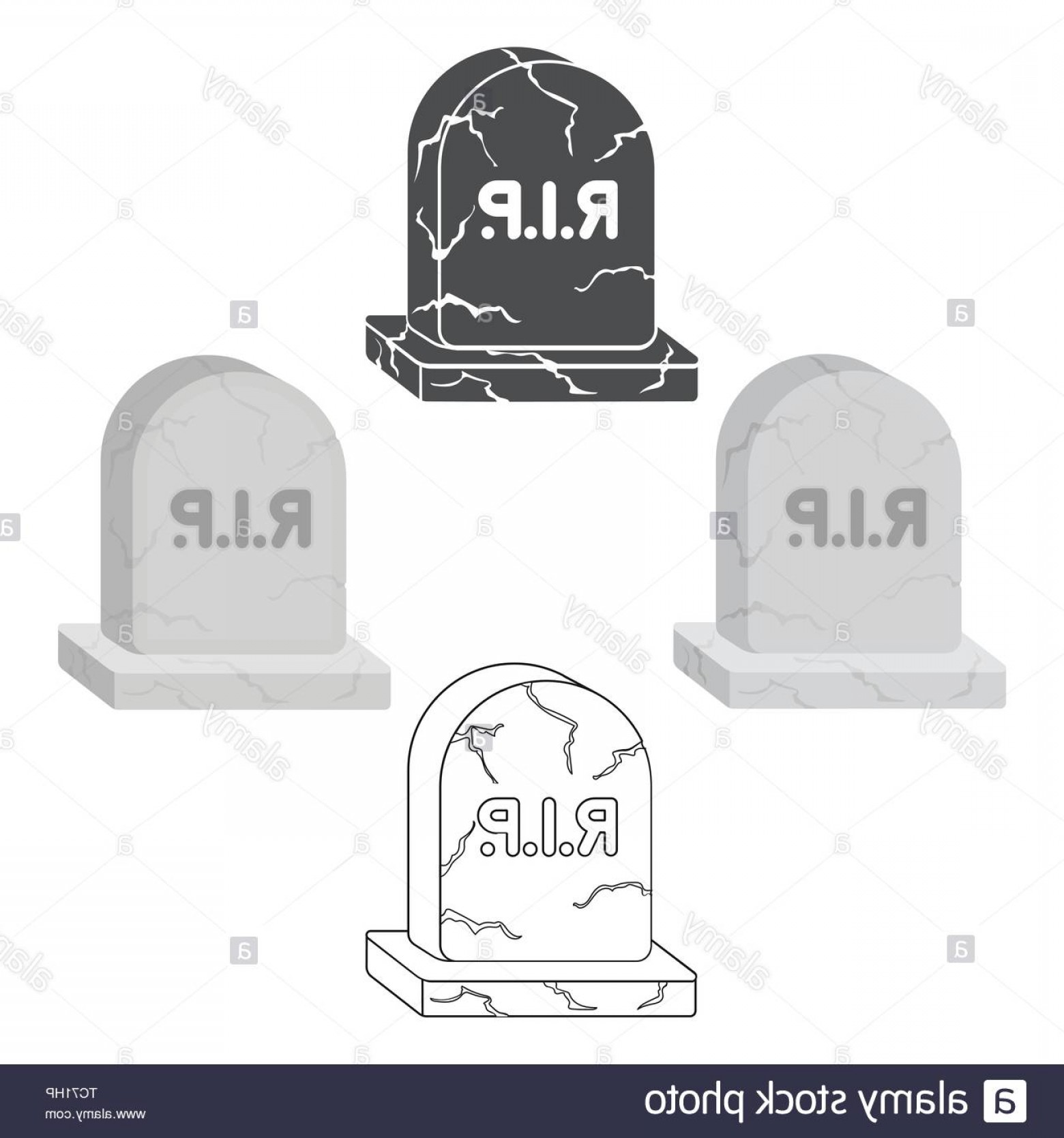 Gravestone Black And Whit Vector JPEG: Headstone Icon In Cartoonblack Style Isolated On White Background Black And White Magic Symbol Vector Illustration Image