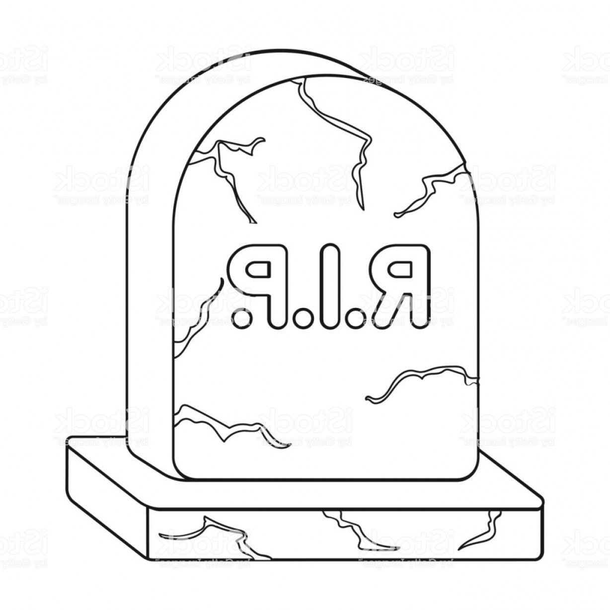 Gravestone Outline Vector: Headstone Icon In Outline Style Isolated On White Background Black And White Magic Gm