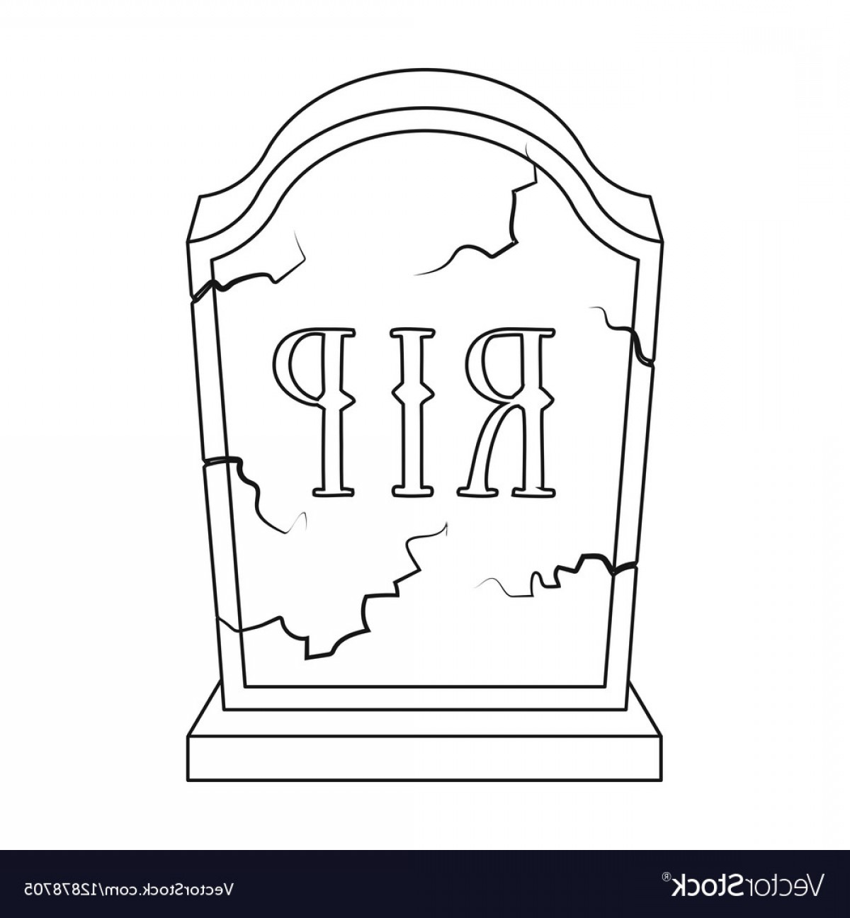 Gravestone Outline Vector: Headstone Icon In Outline Style Isolated On White Vector