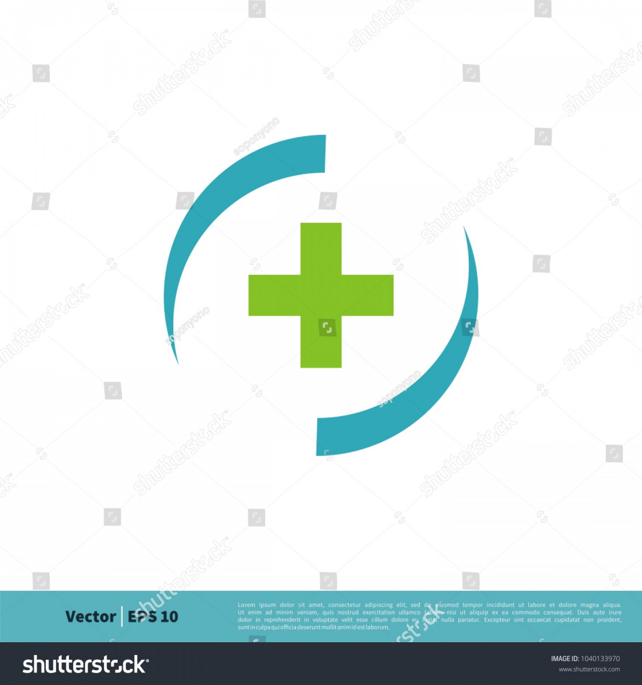 Vector Swoosh Simple Two Line: Health Cross Circle Swoosh Icon Vector