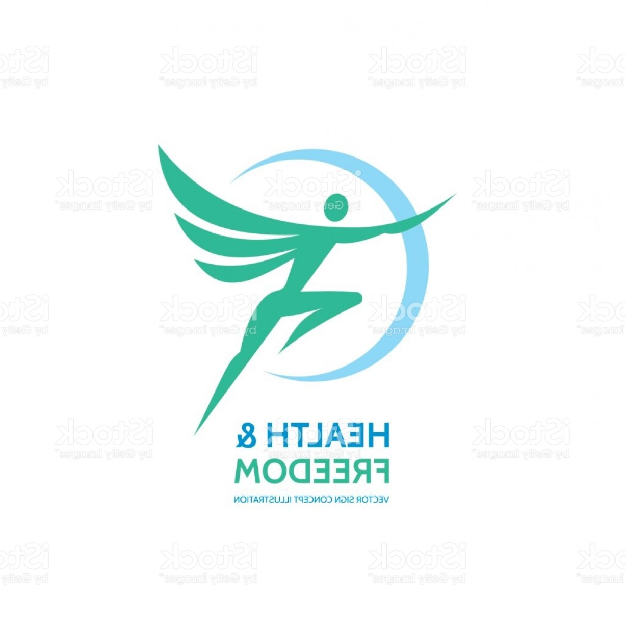 Health Vector Logo: Health Freedom Vector Logo Sign Template Angel With Wings Human Character Gm