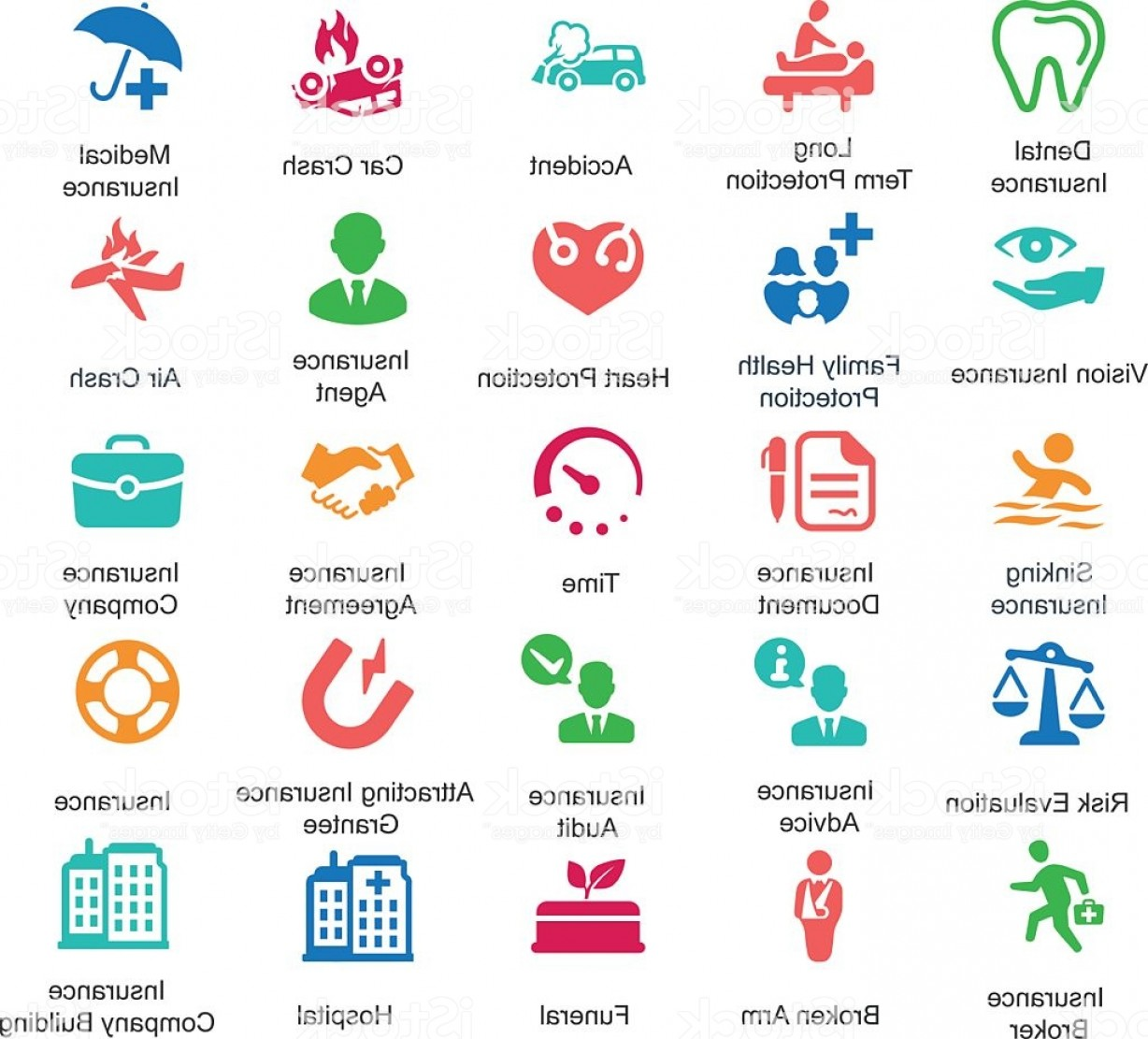 Vector Health Insurance: Health Insurance Icons Colored Series Gm