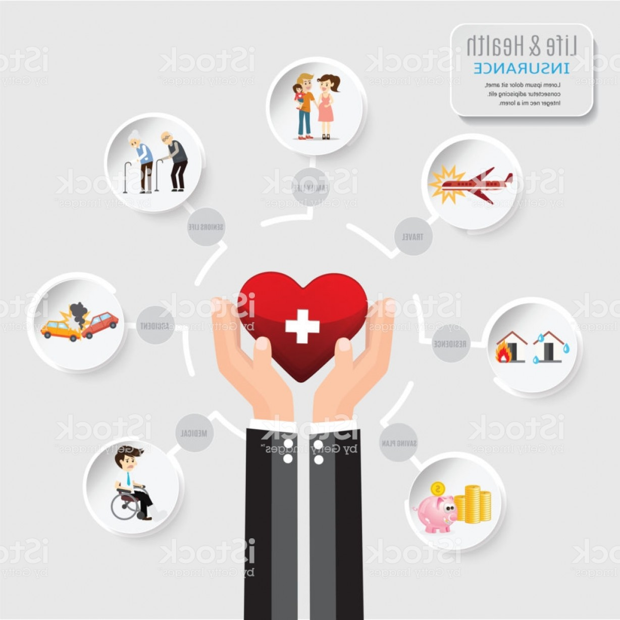 Vector Health Insurance: Health Insurance Service Care And Protect You Life Hand Business Agent Holding Heart Gm