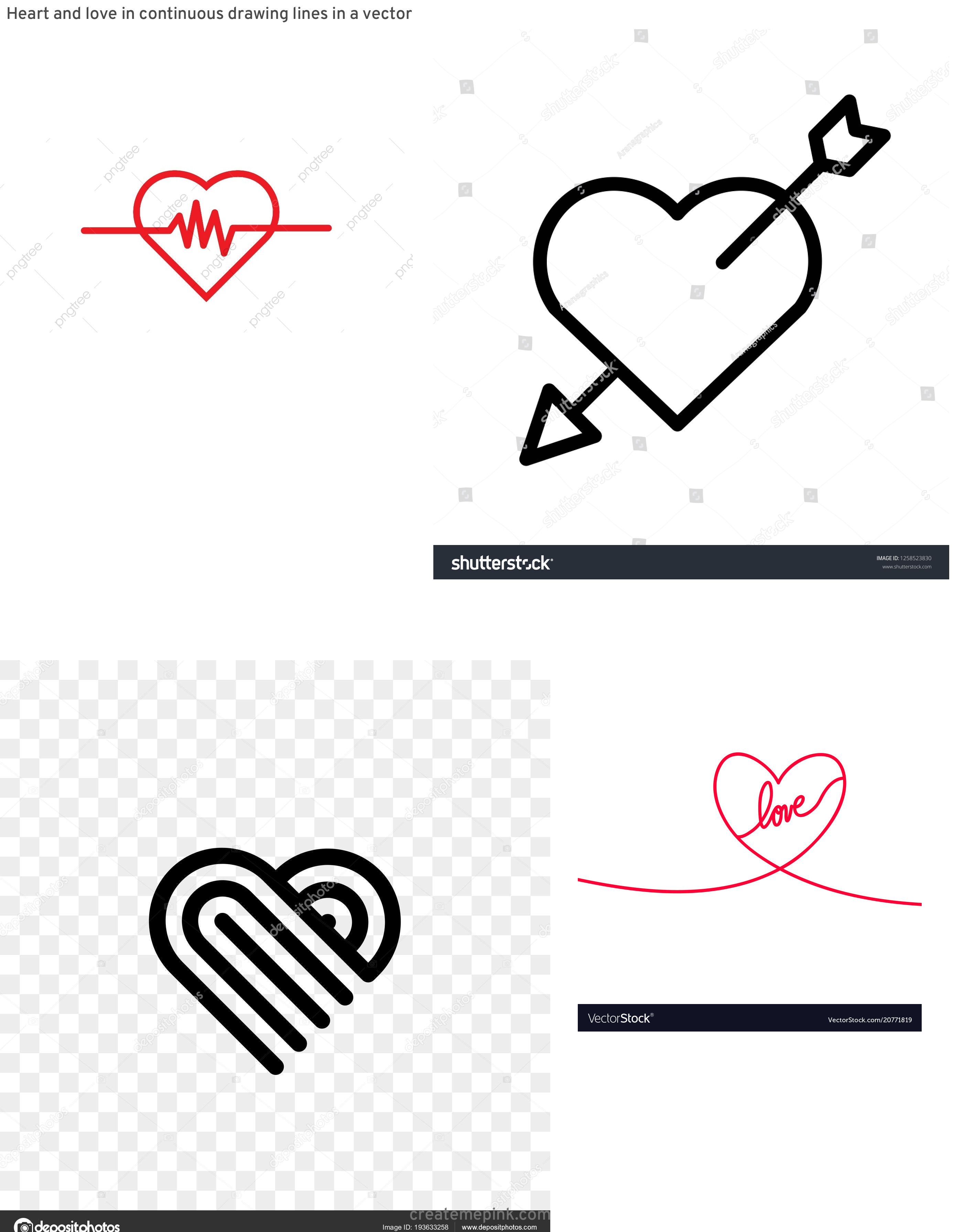 Heart Vector Line Designs: Heart And Love In Continuous Drawing Lines In A Vector