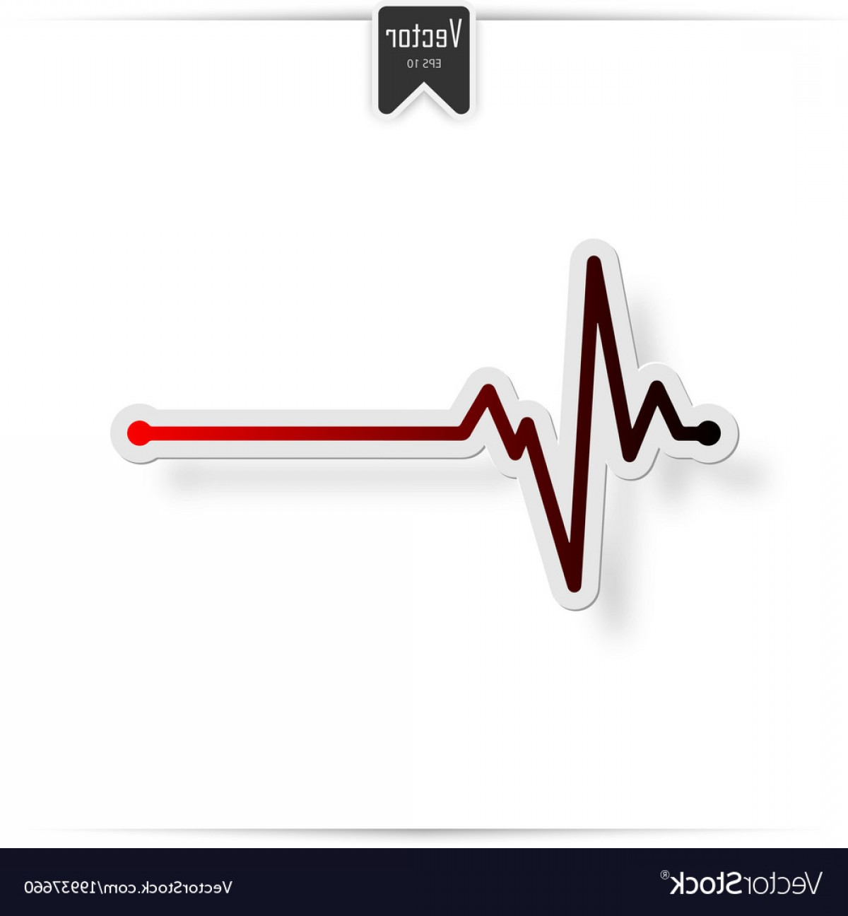 Heart With EKG Line Vector: Heart Beat Line Ekg Death Vector