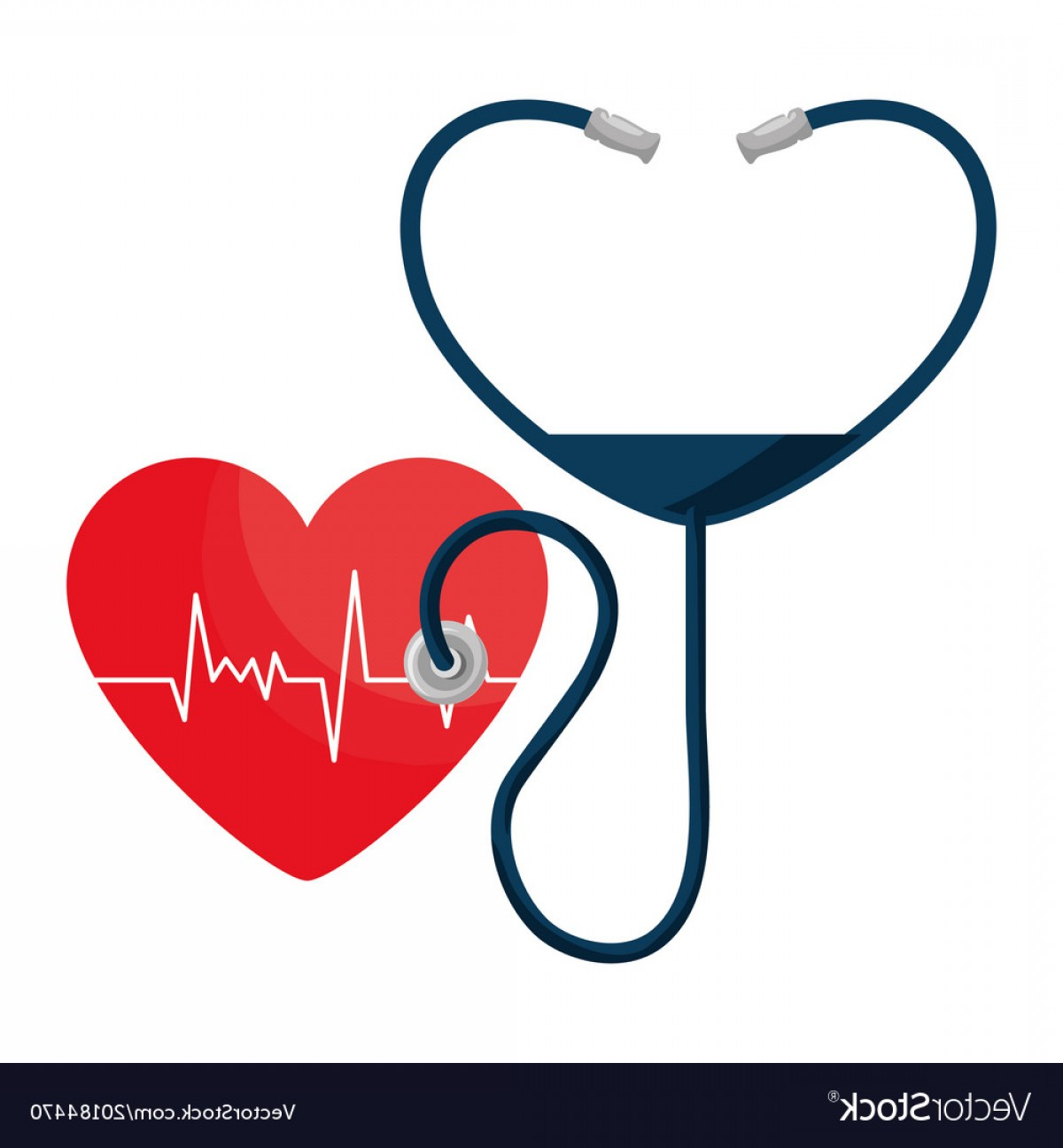 Heart Stethoscope With EKG Lines Vector: Heart Cardio With Stethoscope Vector