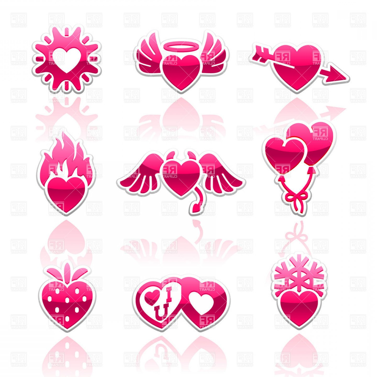 Vector Clip Art Collections: Heart Collection Love Icons Set Vector Clipart
