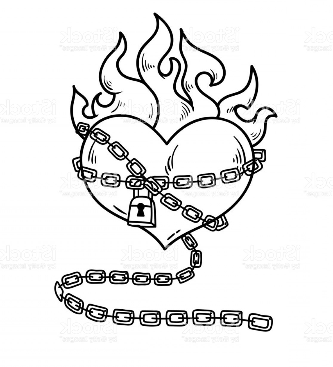 Vertical Tattoo Vector Graphics: Heart In Chains Of Love Flaming Heart Tattoo Gm