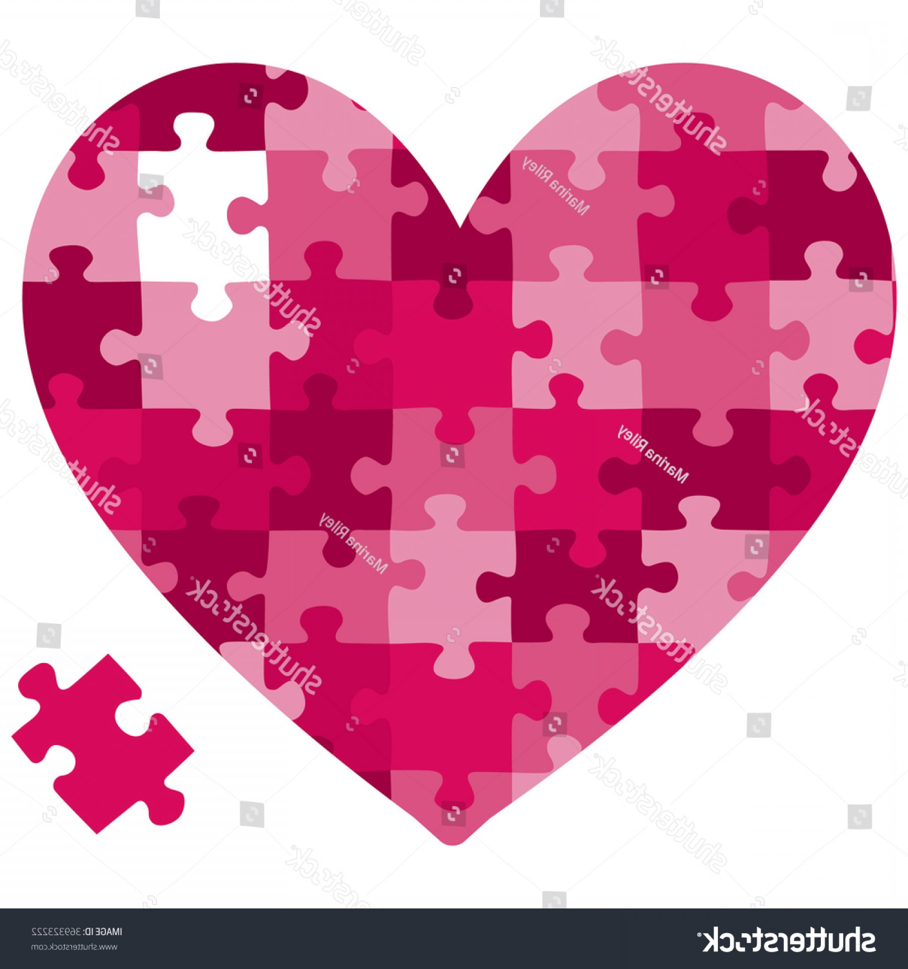 Puzzle In Vector Format: Heart Jigsaw Puzzle Vector Format
