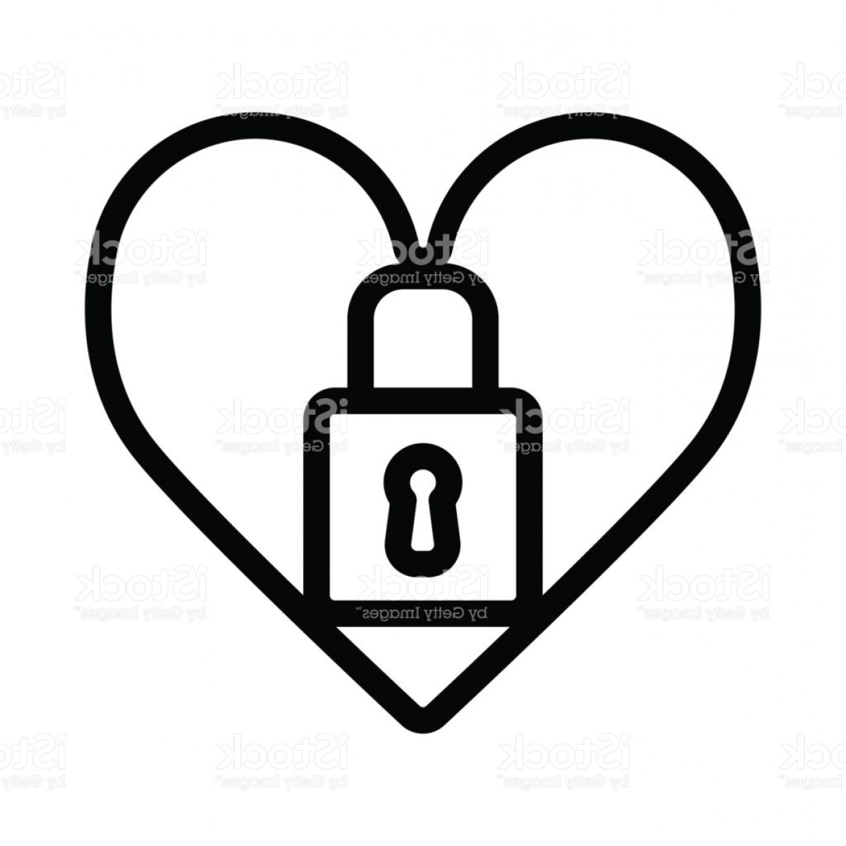 Heart Lock Vector: Heart Lock Vector Icon Black And White Love Illustration Outline Linear Icon Of Heart Gm