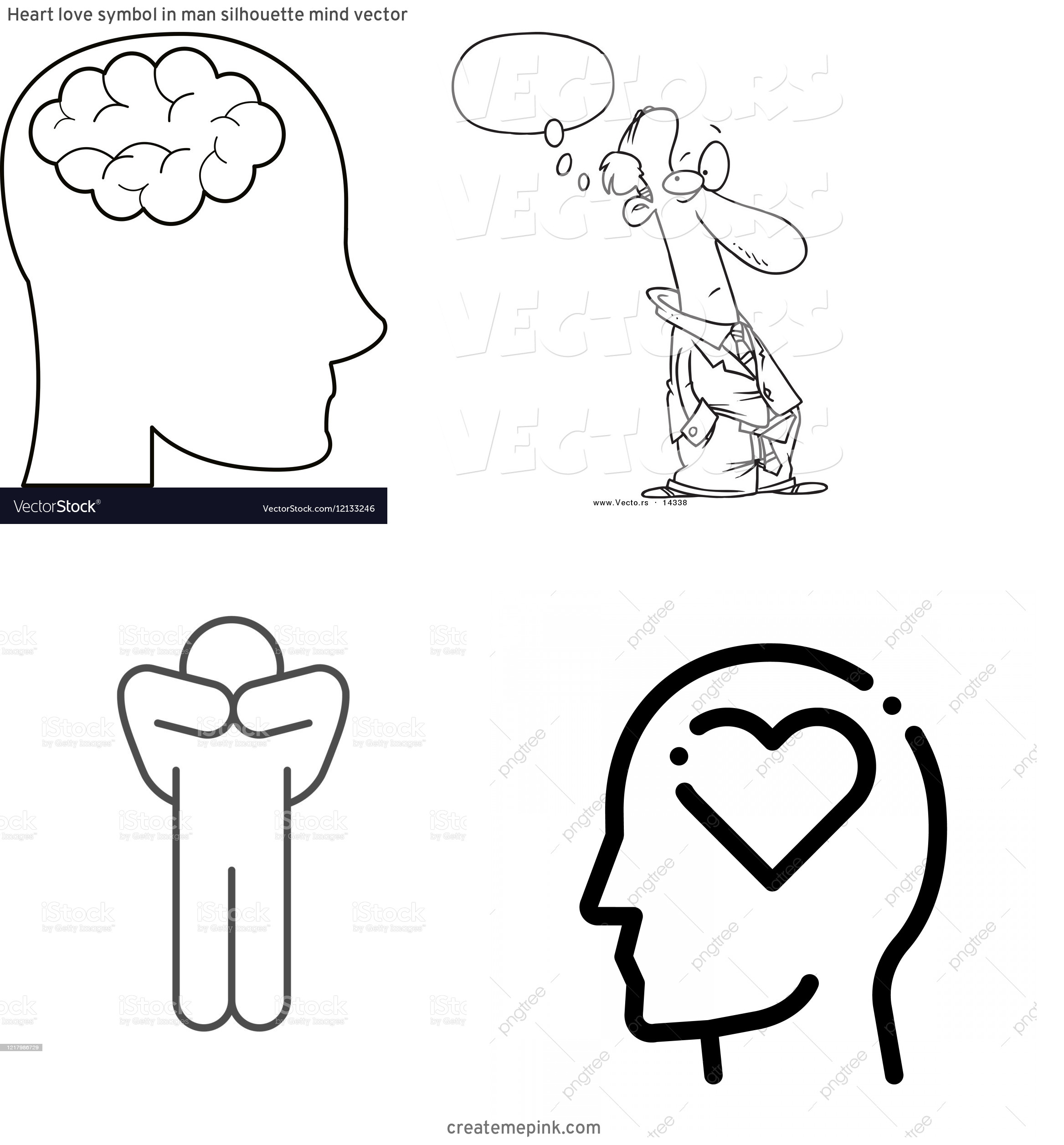Person Thinking Outline Vector: Heart Love Symbol In Man Silhouette Mind Vector
