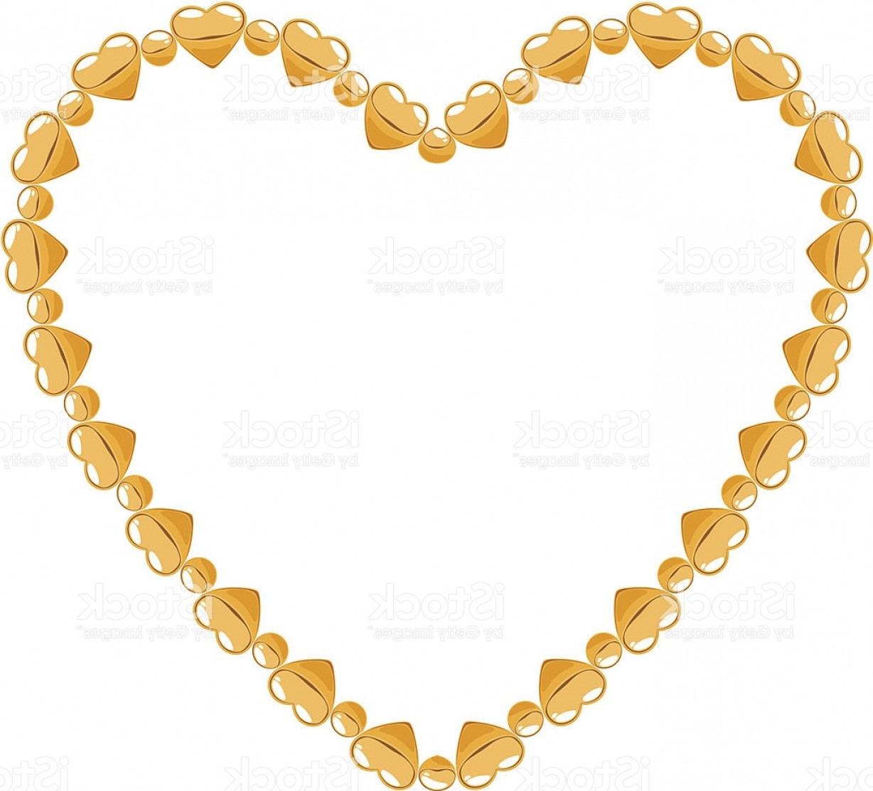 Necklace Vector Chain Grapicts: Heart Of Golden Chain With Heart Segments And Round Beads Gm