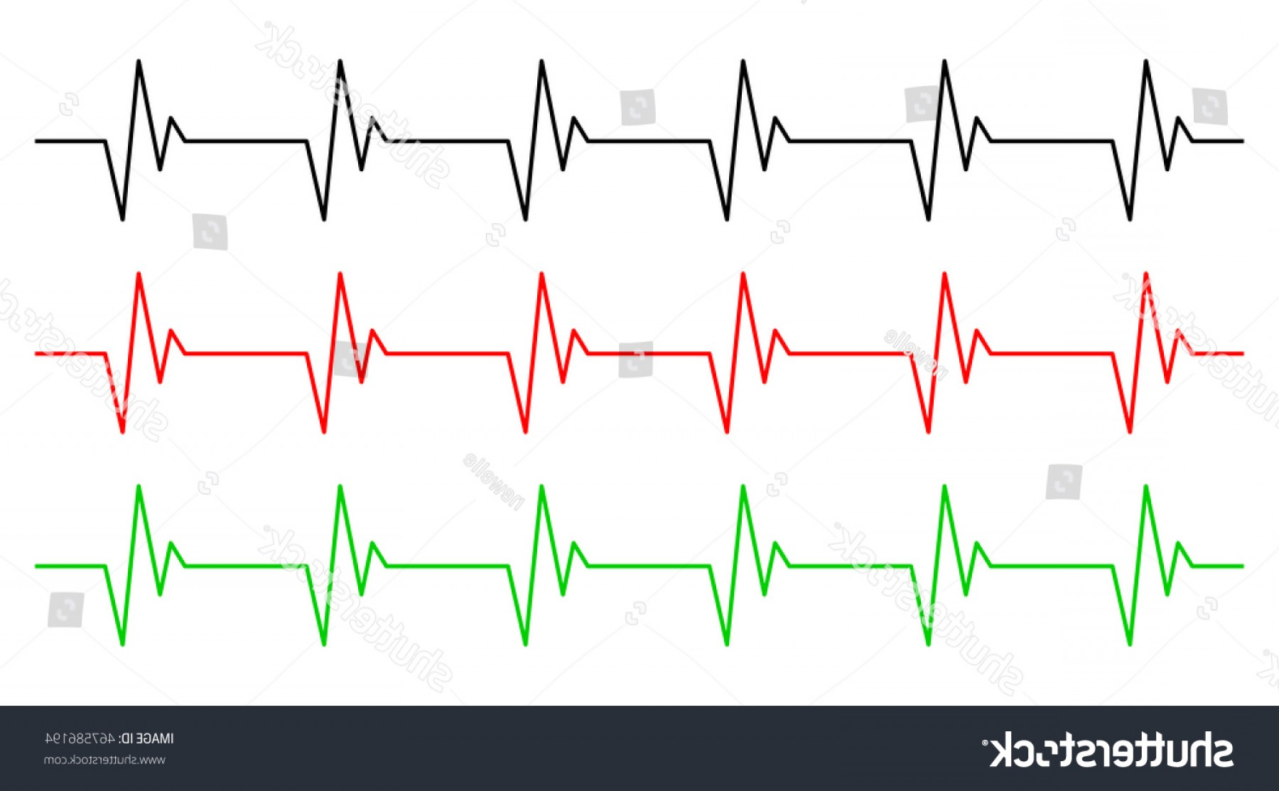 Heart With EKG Line Vector: Heart Rhythm Ecg Line Vector Symbol