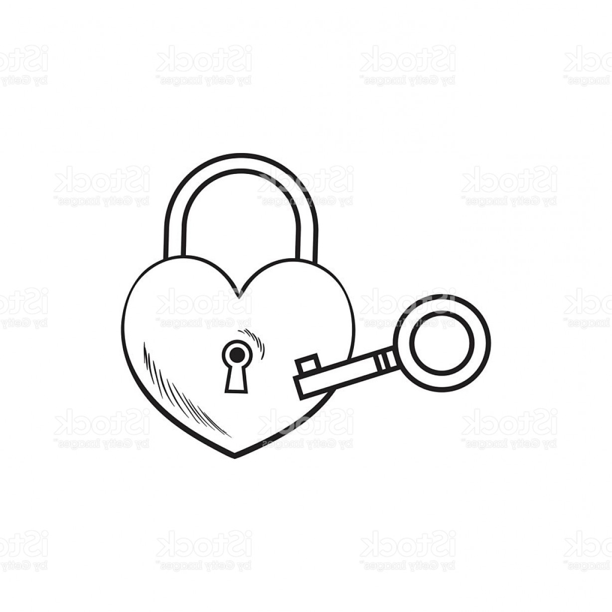 Heart Lock Vector: Heart Shaped Padlock And Key For Love Lock Unity Ceremony Gm