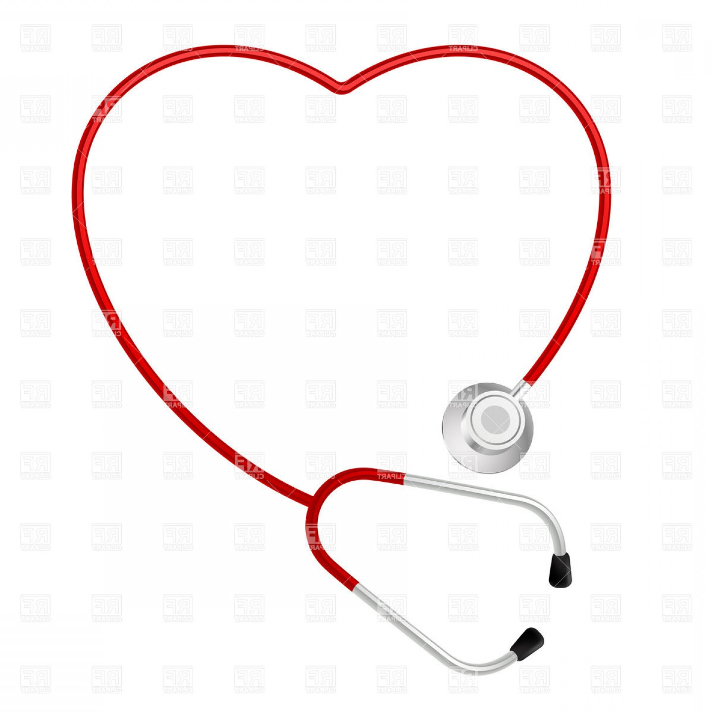 Stethoscope With Heart Vector Art: Heart Shaped Stethoscope Vector Clipart