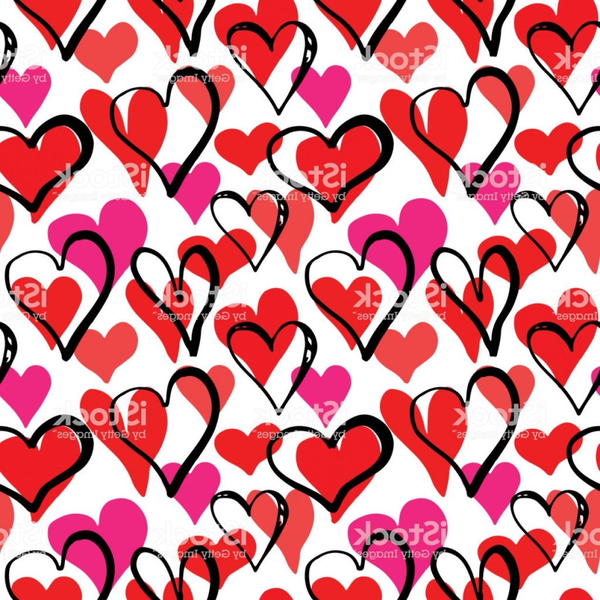 Cool Vector Hearts Pattern Symbol Pattern: Heart Symbol Seamless Pattern Vector Illustration Hand Drawn Sketch Doodle Gm