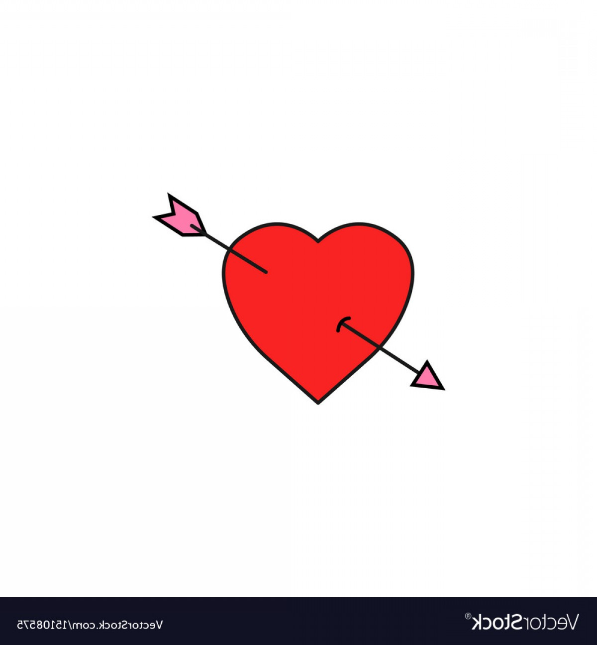 Solid Heart Vector Drawing: Heart With Arrow Solid Icon Love Sign Valentines Vector