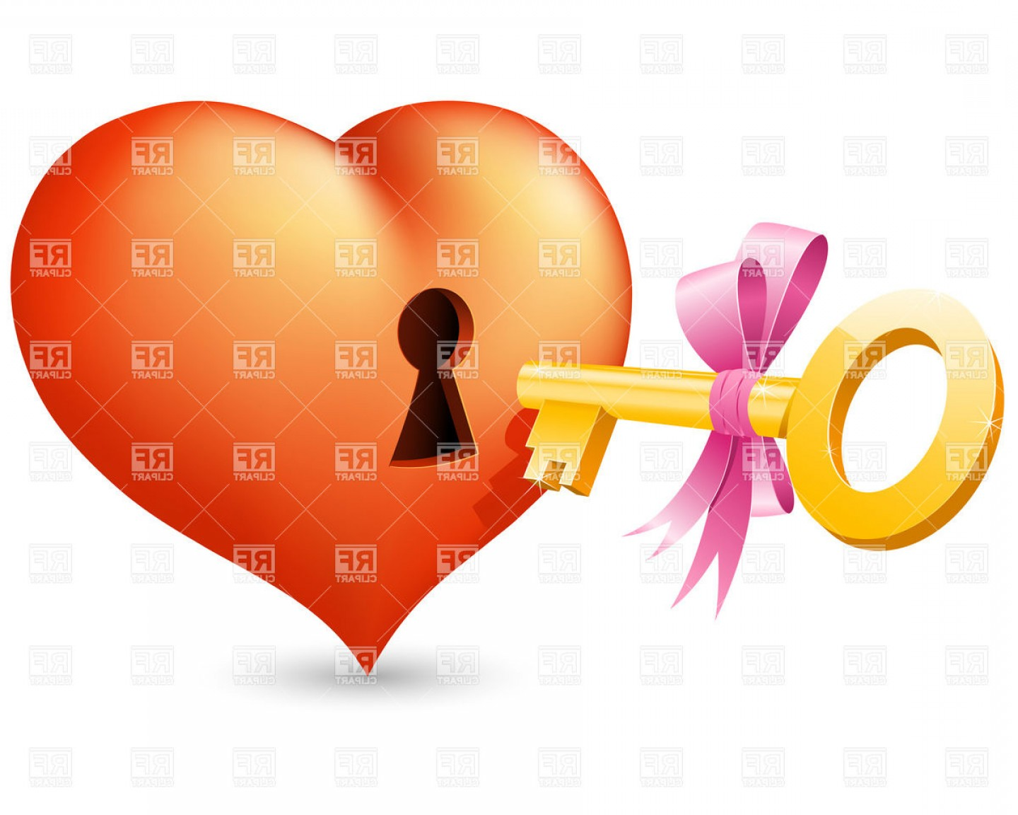 Keyholes And Key Vector Art: Heart With Keyhole And Key Vector Clipart