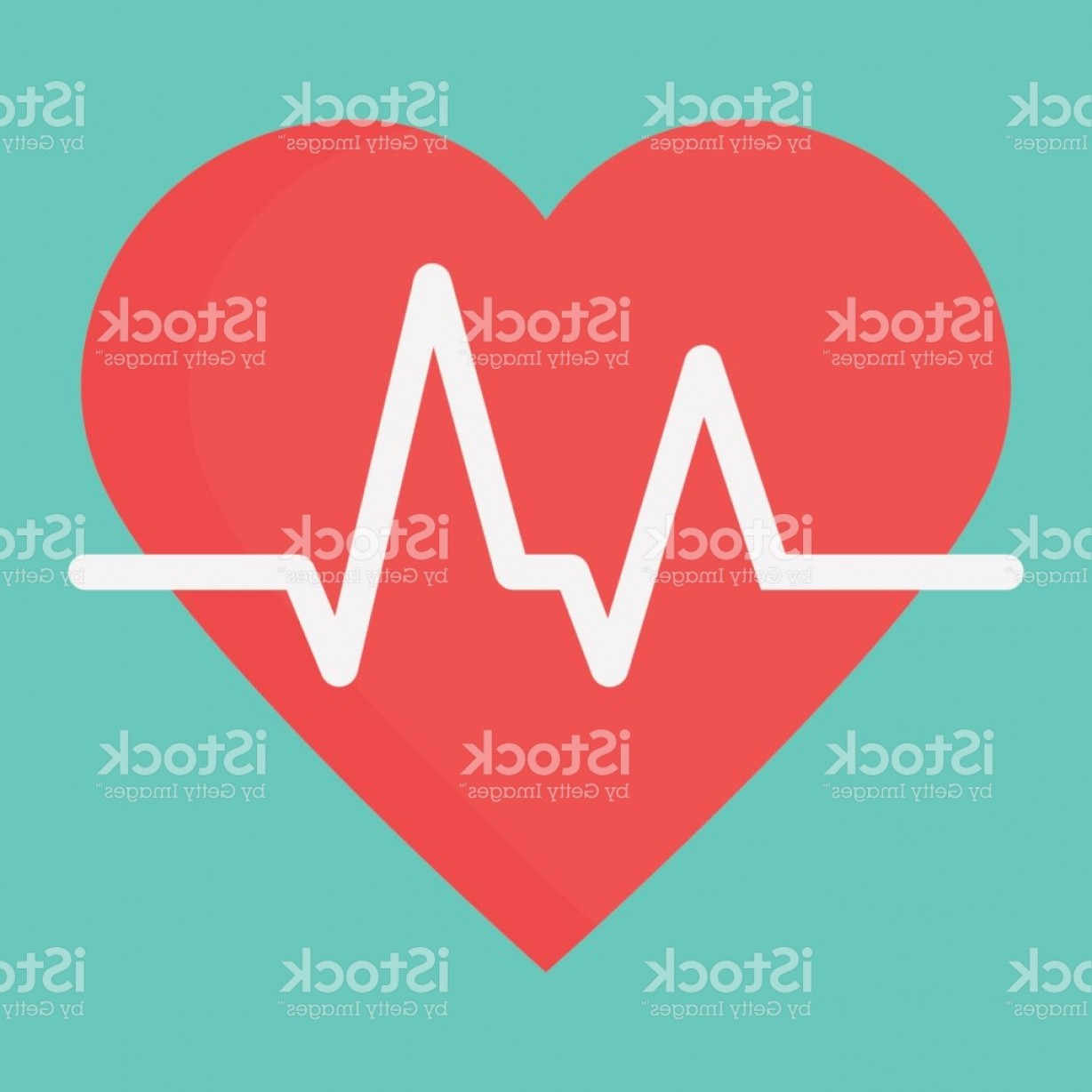 Solid Heart Vector Drawing: Heartbeat Flat Icon Medicine And Healthcare Pulse Sign Vector Graphics A Colorful Gm