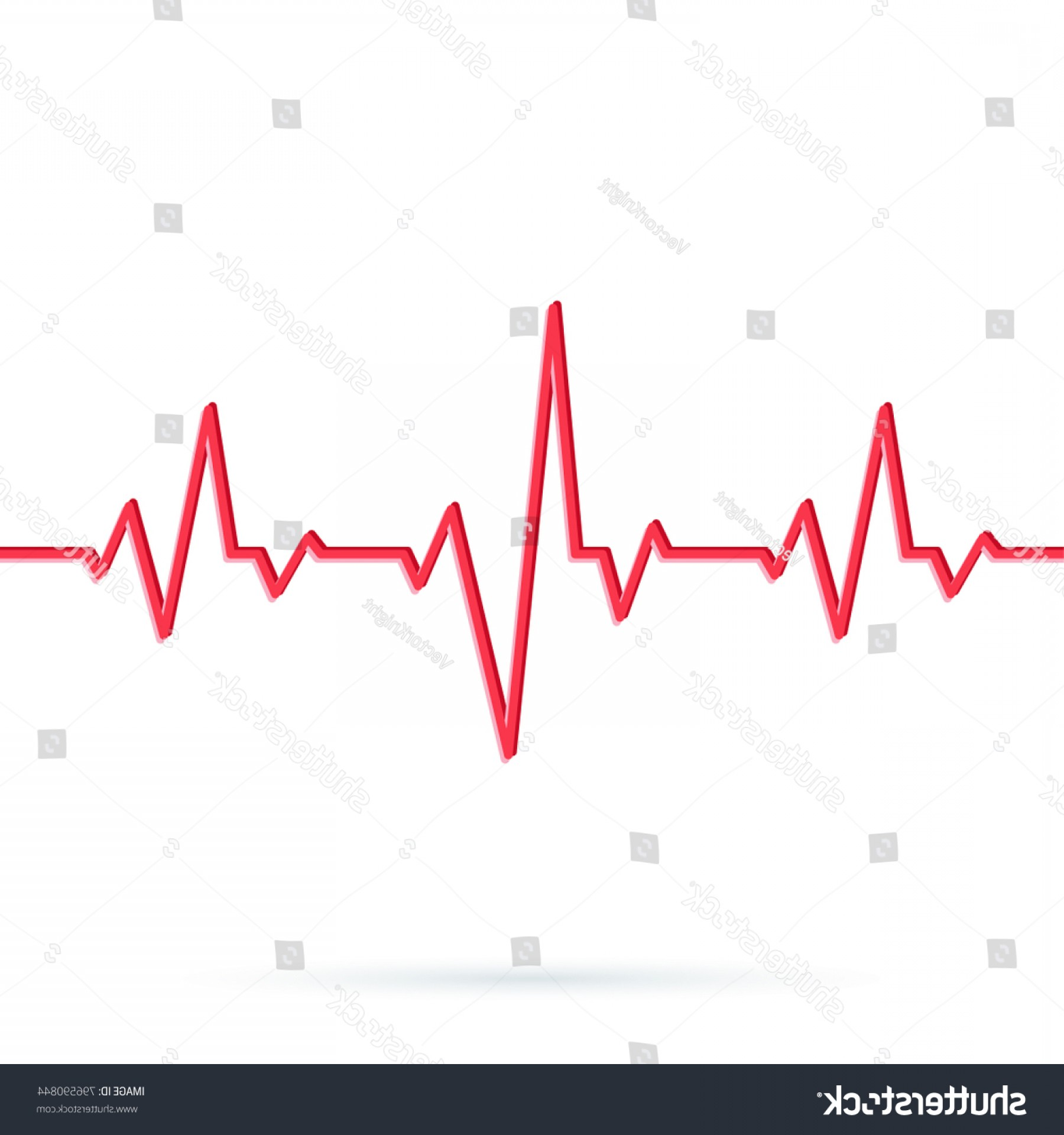 Heart With EKG Line Vector: Heartbeat Line Vector Illustration Red Heart