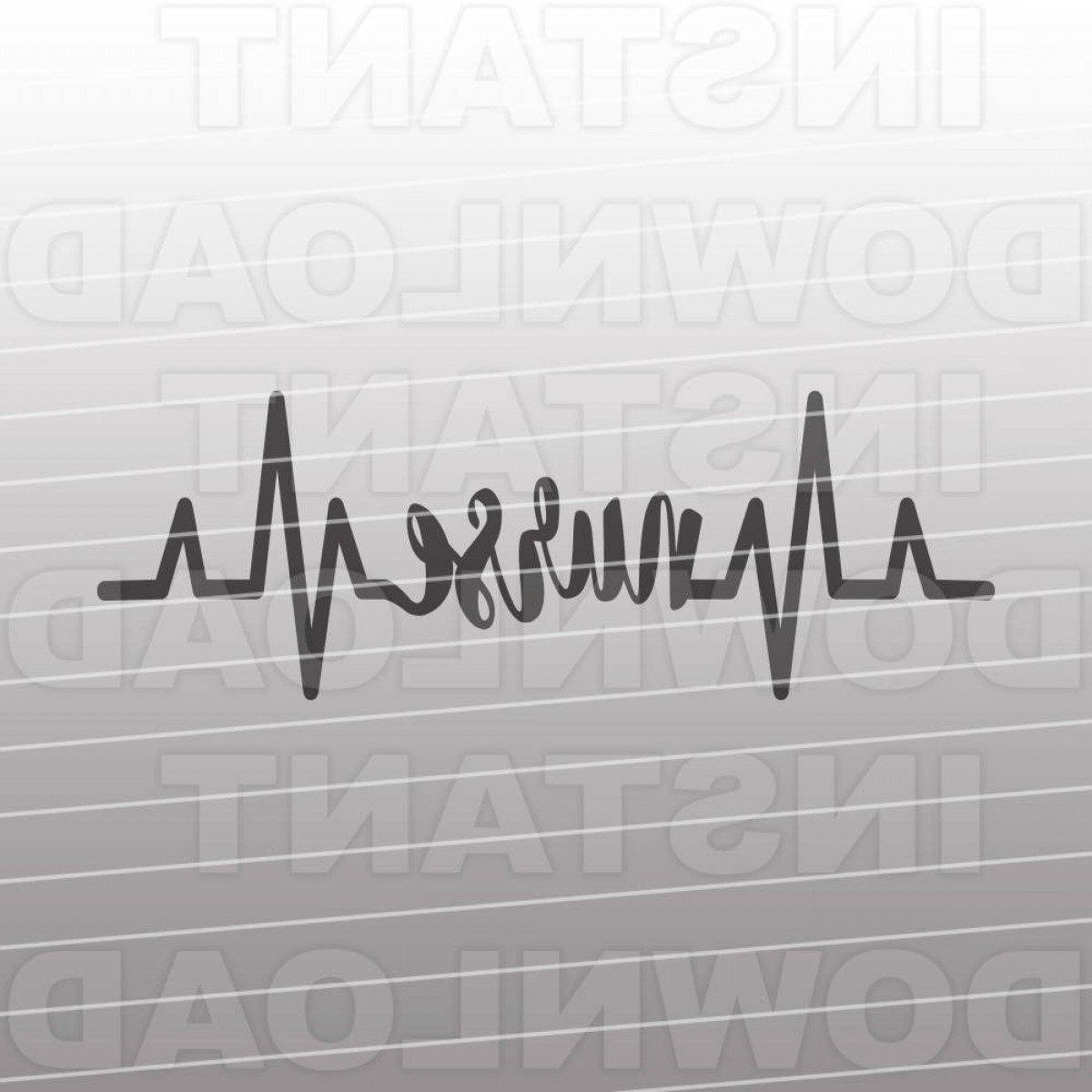 Nurse Vector Art SVG: Heartbeat Pulse Ekg Strip Nurse Svg