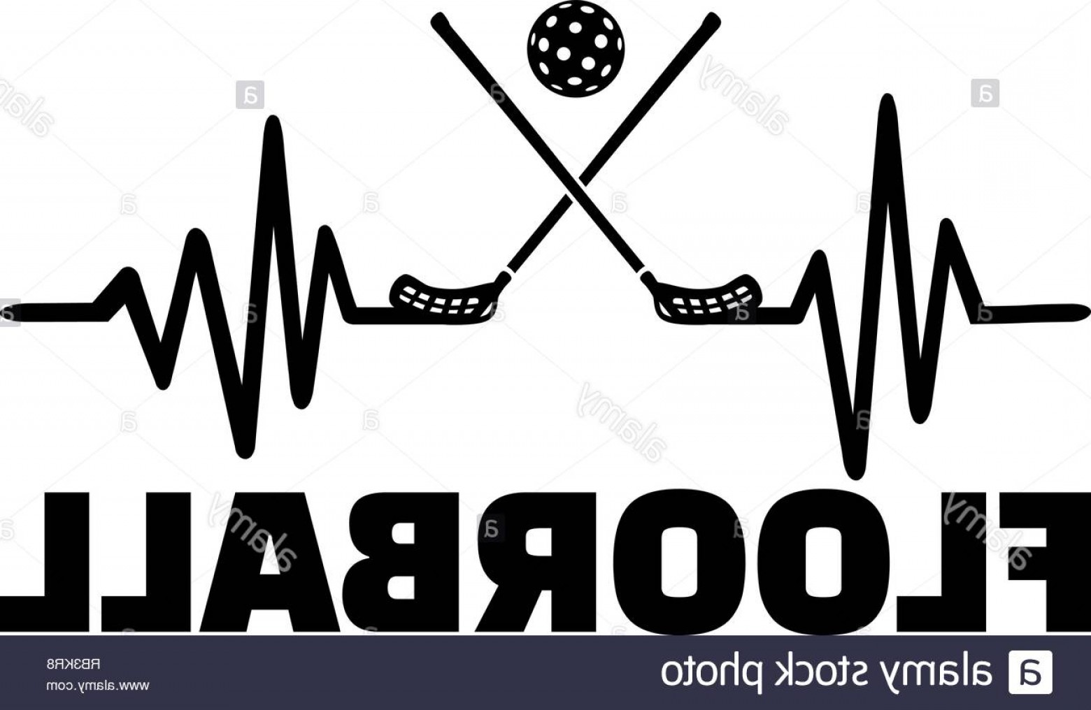 Soccer Ball Heart Beat Vector: Heartbeat Pulse Line With Two Crossed Floorball Sticks A Ball And Word Image