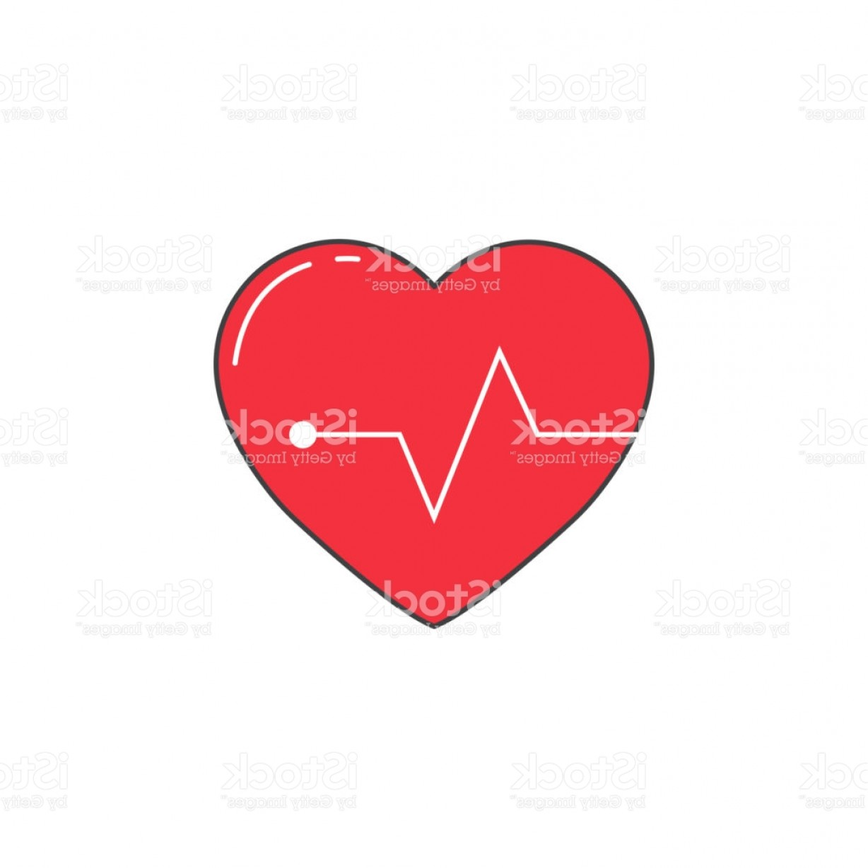 Solid Heart Vector Drawing: Heartbeat Solid Icon Cardio Vector Graphics Gm
